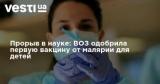 Прорыв в науке: ВОЗ одобрила первую вакцину от малярии для детей